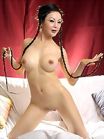 Skinny asian Ange Venus toys her pussy
